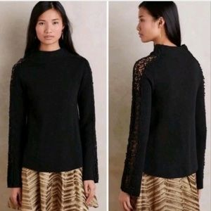 KNITTED & KNOTTED Floral Laced Funnelneck Pullover
